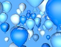 Blue balloons in air 3d illustration, birthday background. Stock Photo