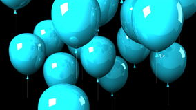 Blue Balloons On Black Background stock footage