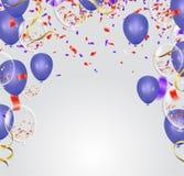 Blue balloons, confetti concept design template Happy Valentine`. Blue balloons, confetti concept design template Happy background Celebration Vector Royalty Free Stock Photo