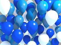 Blue balloons. 3d modeled flying blue balloons Royalty Free Stock Photography
