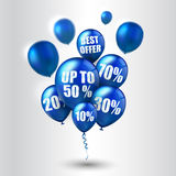 Blue balloons and discounts on white background Royalty Free Stock Photos
