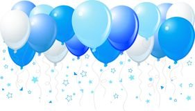 Blue balloons flying up Royalty Free Stock Image