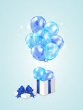 Blue balloons and gift box Stock Images