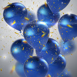 Blue balloons and golden confetti. Royalty Free Stock Image