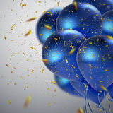 Blue balloons and golden confetti. Vector festive illustration of flying realistic glossy balloons and shiny confetti. Decoration 3D element for party Royalty Free Stock Photos