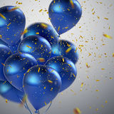 Blue balloons and golden confetti. Royalty Free Stock Images