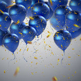 Blue balloons and golden confetti. Vector festive illustration of flying realistic glossy balloons and shiny glittering confetti. Decoration 3D element for Royalty Free Stock Photo