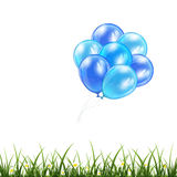 Blue balloons and grass Stock Images