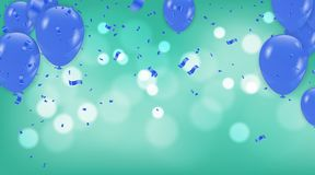 Blue balloons on a green Abstract Background with Shining Colorf. Ul Balloons. Birthday, Party, Presentation, Sale Stock Illustration