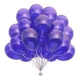 Blue balloons party decoration glossy. helium balloon bunch. Translucent. Birthday, holiday, anniversary celebration symbol. 3d illustration stock illustration