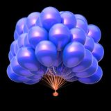 Blue balloons party decoration. helium balloon bunch glossy. Birthday, holiday, anniversary celebration symbol. 3d illustration, isolated on black stock illustration