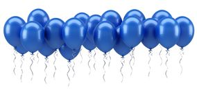 Blue party balloons. Blue balloons on white background Royalty Free Stock Photography