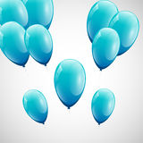 Blue balloons with white background Stock Photography