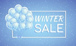 Blue balloons winter seasonal sale poster with snowflakes. Bunch of blue balloons with snowflakes. Winter sale poster for seasonal discount Royalty Free Stock Photo