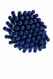 Blue ballpen caps in pattern. Blue ballpen caps in pattern over white background Stock Photos