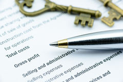 Blue ballpoint pen on an incorporation's income statement. Stock Image