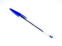 Blue ballpoint pen. On white background Stock Photo