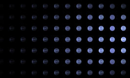 Blue balls on a black background. Abstract image. Stock Photo