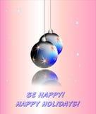 Blue balls on Christmas background Stock Image