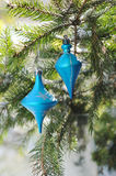 Blue balls on christmas tree outdoors Royalty Free Stock Image