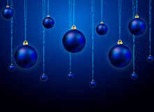 Blue balls on the Christmas tree. Vector art illustration Royalty Free Stock Photo