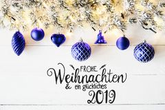 Blue Balls, German Calligraphy Glueckliches 2019 Means Happy 2019 stock images