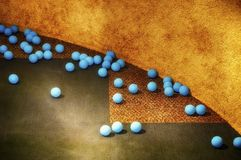 Blue Balls Scattered on carpet royalty free stock photography