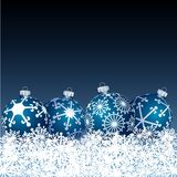 Blue balls in snow. Vector blue balls in snow Royalty Free Stock Image
