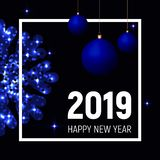 Blue balls and snowflake, 2019 new year template. Blue balls and snowflake and white square frame on dark black background, 2019 new year template, banner vector illustration