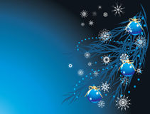 Blue balls and snowflakes on the Christmas tree Royalty Free Stock Image