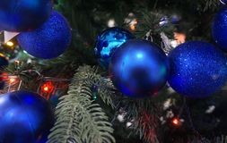 Blue balls weigh beautifully on the Christmas tree stock photography