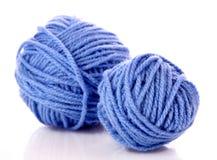 Blue balls of woollen thread isolated Stock Photo