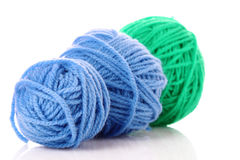 Blue balls of woollen thread isolated Stock Image