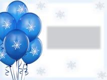 Blue baloons winter. Invitation card Royalty Free Stock Photo