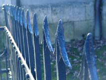 The blue balustrade. The old balustrade in perspetive Royalty Free Stock Images