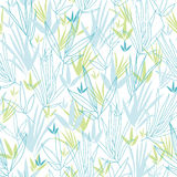 Blue bamboo branches seamless pattern background. Vector blue bamboo branches seamless pattern background with hand drawn elements stock illustration