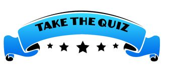 Blue band with TAKE THE QUIZ text. Stock Images