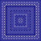 Blue bandanna with white ornament Royalty Free Stock Photography