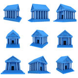 Blue Bank building 3d icon Royalty Free Stock Photo