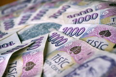 Blue bank notes in value of one thousand Czech Crowns forming the shape of circle Stock Images