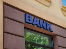 Blue bank sign royalty free stock images