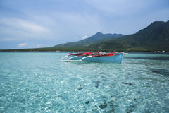 Blue banka outrigger fishing boat philippines Stock Photos