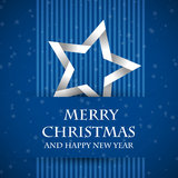Blue banned christmas card with star Stock Images