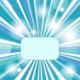 Blue banner. Banner with blue , green and white rays Stock Photo