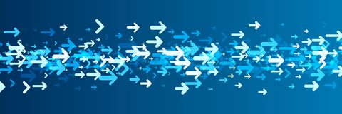 Blue banner with arrows pattern. Stock Image