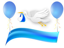 Blue banner with balloons and  Stock Image