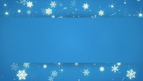 Blue banner and christmas snowfall Royalty Free Stock Image