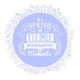 Blue banner with flower ornaments and vintage typography lettering Royalty Free Stock Photos