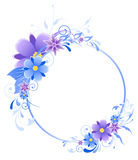 Blue  banner with flowers, leaves  and ornament Royalty Free Stock Photos