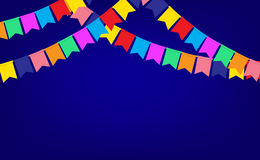 Blue banner with garland of color Party flags Royalty Free Stock Image